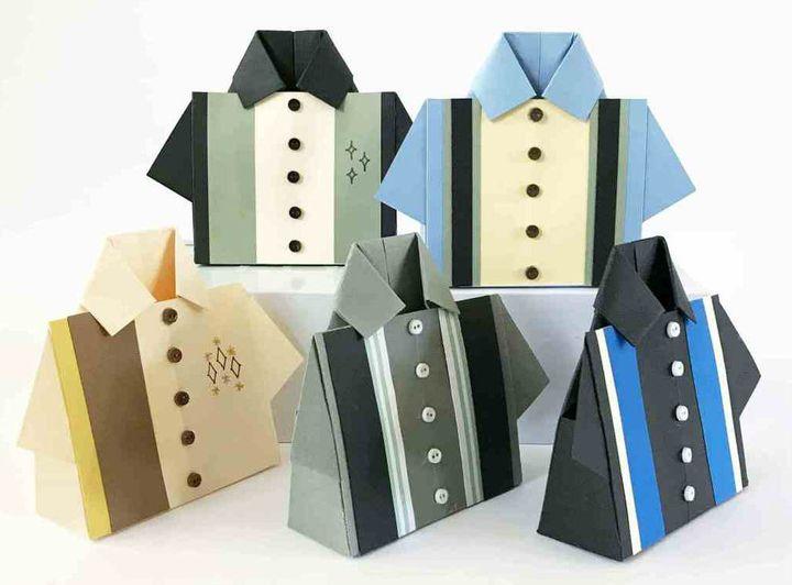 Коробочка-оригами для сладостей в виде рубашки