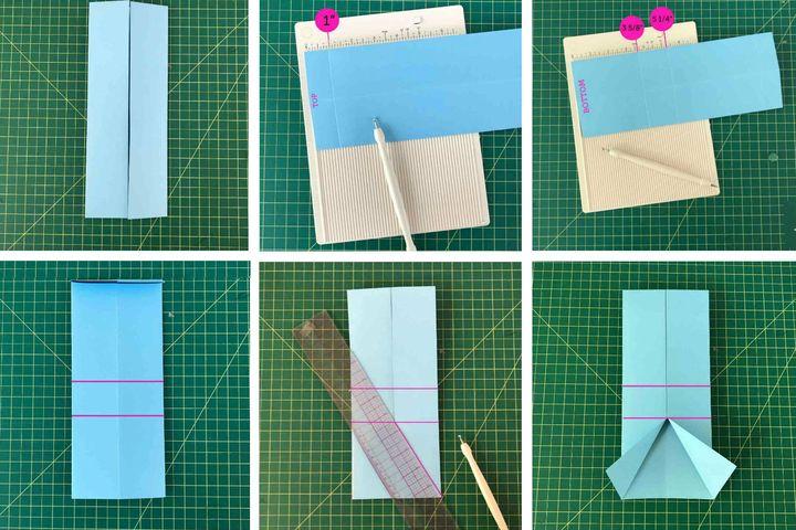 Поэтапная схема сборки коробочки-оригами для сладостей в виде рубашки