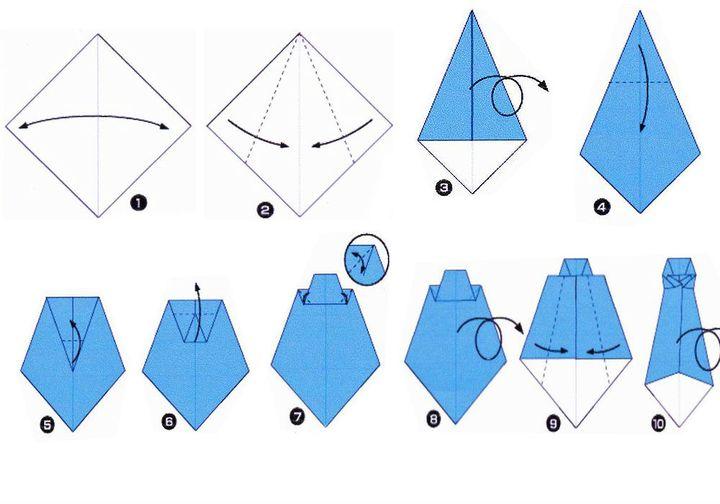 Поэтапная схема сборки оригами-галстука