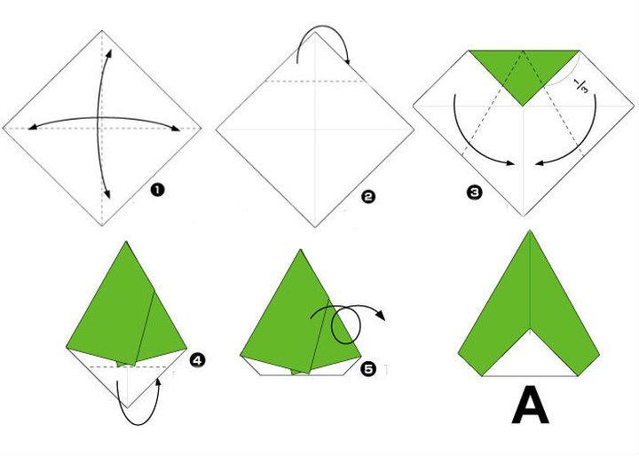 Поэтапная схема сборки буквы A в технике оригами