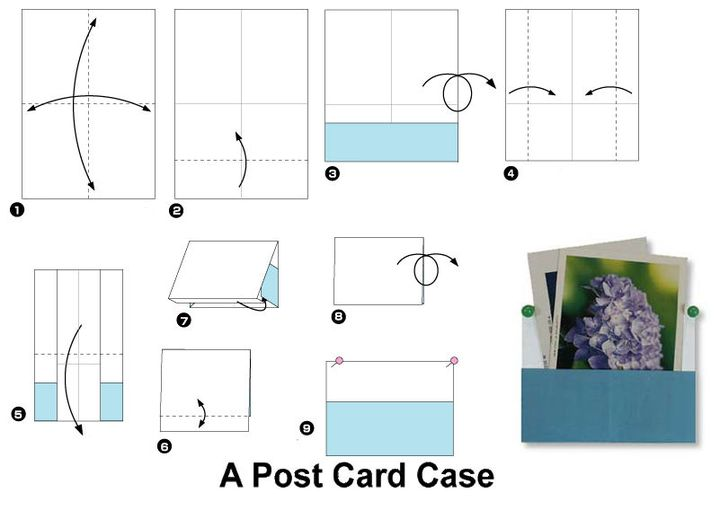 Поэтапная схема сборки органайзера для записок в технике оригами