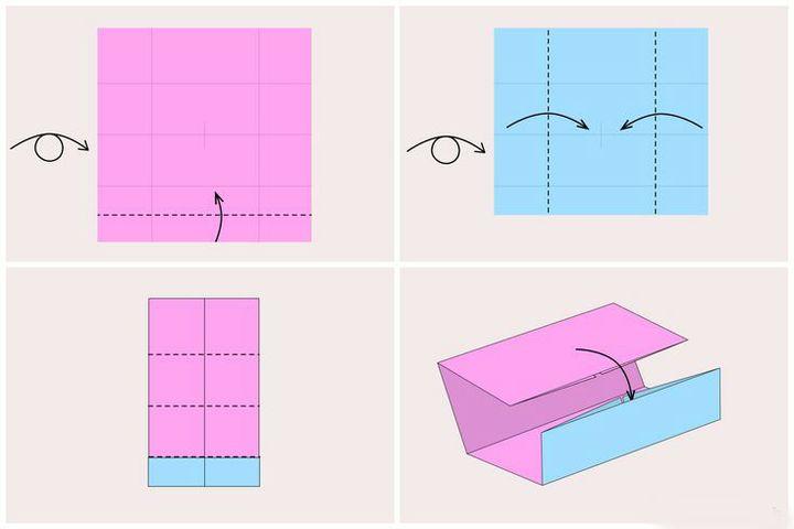 Поэтапная схема сборки подставки для визиток в технике оригами