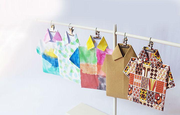 Оригами-гирлянда в виде рубашки