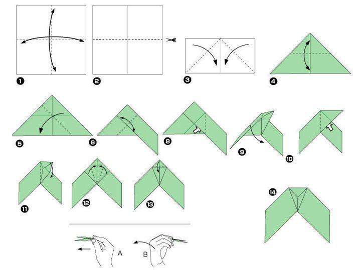 Пошаговая инструкция по сборке простой модели оригами-бумеранга