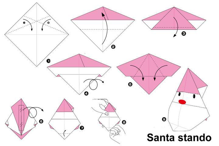 Пошаговая инструкция по сборке рассадочной карточки-оригами в виде Деда Мороза