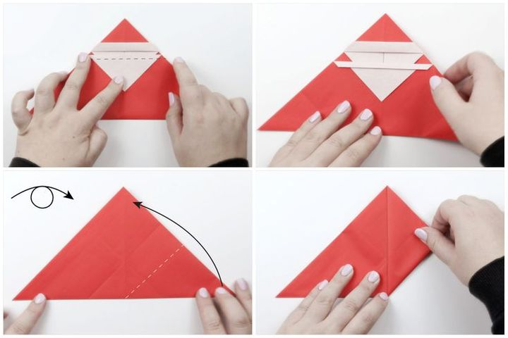 Пошаговая инструкция по сборке фигурки Деда Мороза в технике оригами