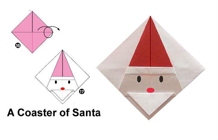 Пошаговая инструкция по сборке подставки под горячее в технике оригами (Дед Мороз)