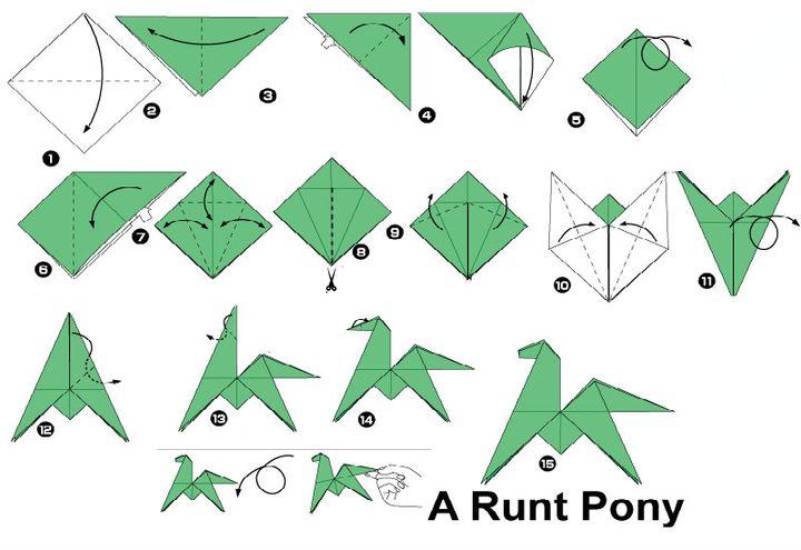 Пошаговая инструкция по сборке кувыркающегося пони в технике оригами