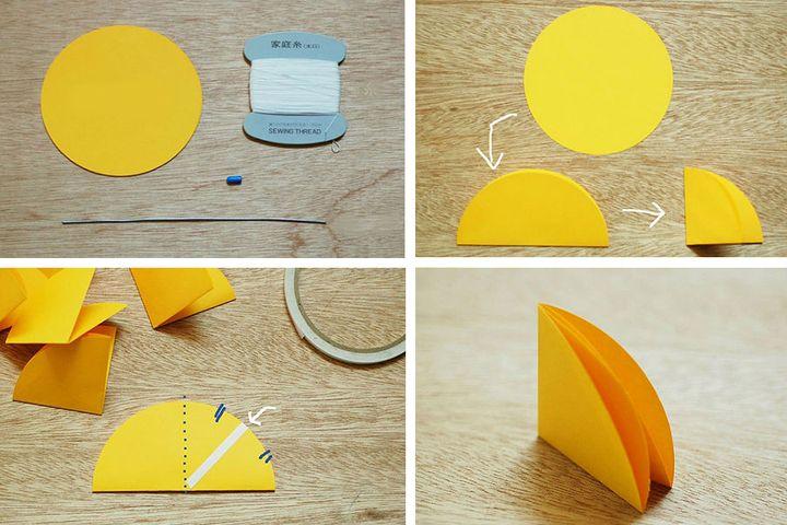 Поэтапная схема сборки оригами-зонтика из модулей