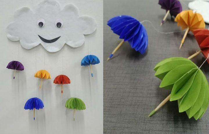 Оригами-зонтик из модулей - настенная композиция