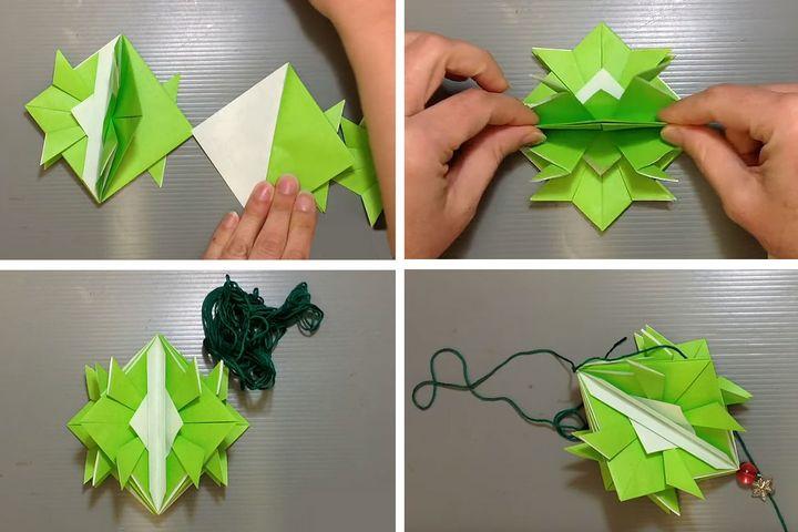 """Поэтапная сборка новогодней игрушки """"Шлем самурая"""" в технике оригами"""