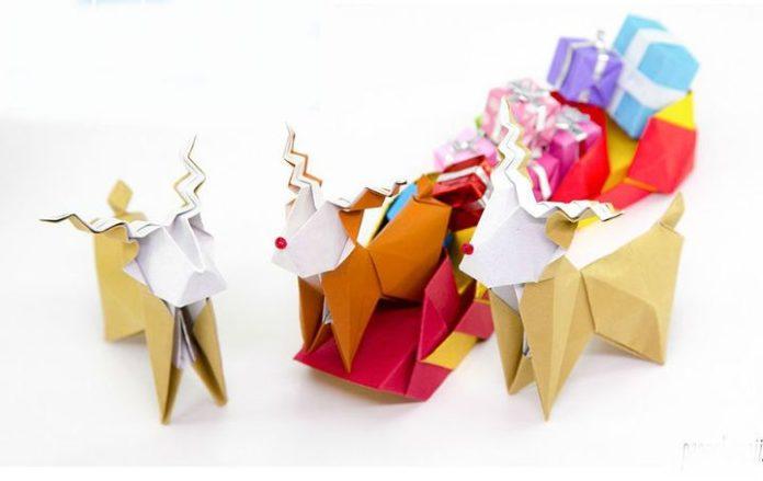 Поэтапная сборка новогоднего оригами-олененка