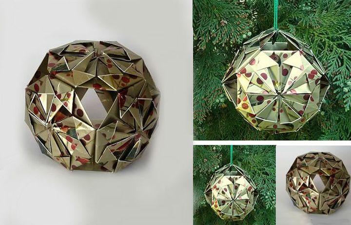 Поэтапная сборка новогоднего оригами-звездачатого шара