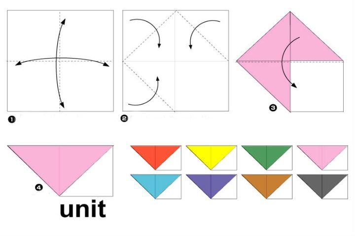 Поэтапная сборка новогоднего оригами-веночка
