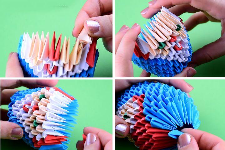 Поэтапная инструкция по сборке новогоднего шара с Санта-Клаусом из модульного оригами