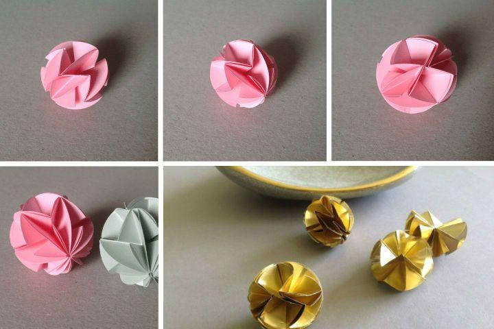 Поэтапная сборка новогоднего шара-оригами из круглых модулей