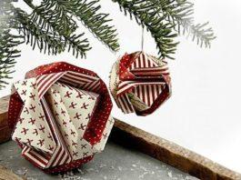 Поэтапная сборка новогоднего шара-оригами с трансформацией