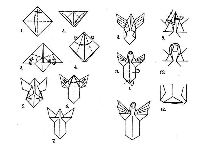 Поэтапная инструкция сборки новогоднего оригами - Ангел