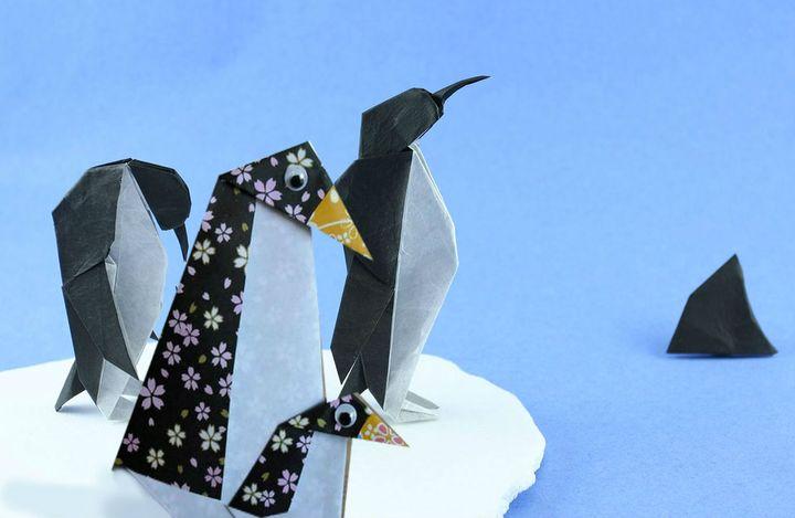 Поэтапная инструкция сборки новогоднего оригами - Пингвин