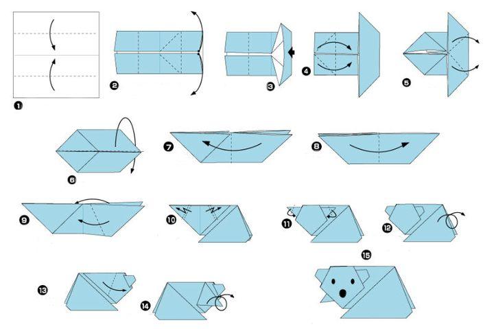 Поэтапная инструкция сборки новогоднего оригами - Полярный медведь