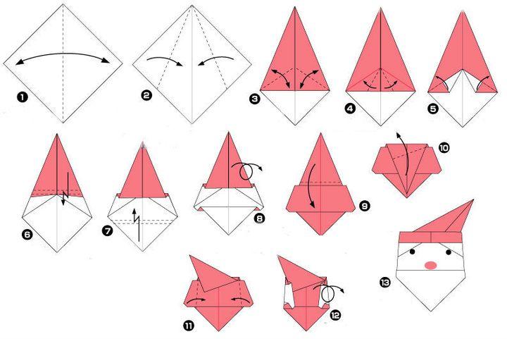 Поэтапная инструкция сборки новогоднего оригами - Дед Мороз