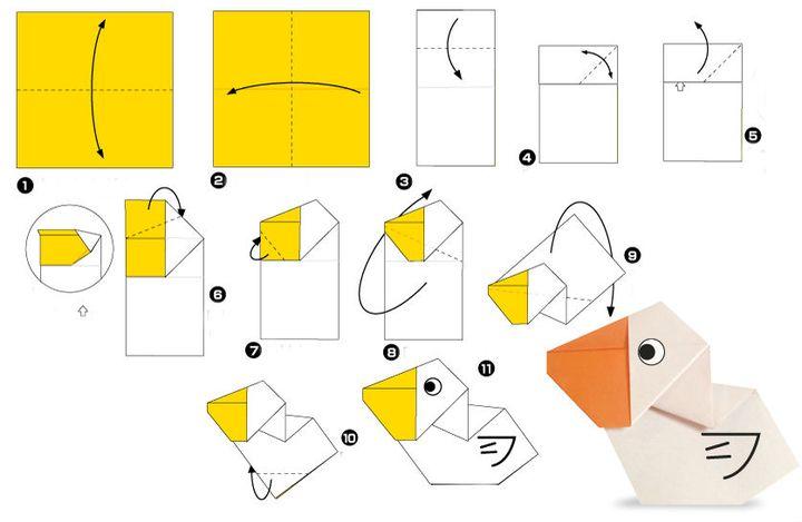 Поэтапная сборка пеликана в технике оригами