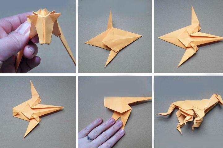 Поэтапная сборка тигра в технике оригами