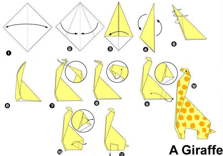 Поэтапная сборка жирафа в технике оригами