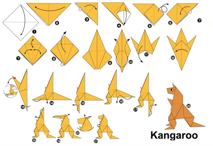 Поэтапная сборка кенгуру в технике оригами