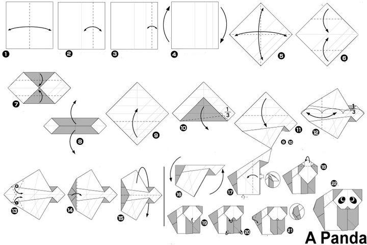 Поэтапная сборка панду в технике оригами