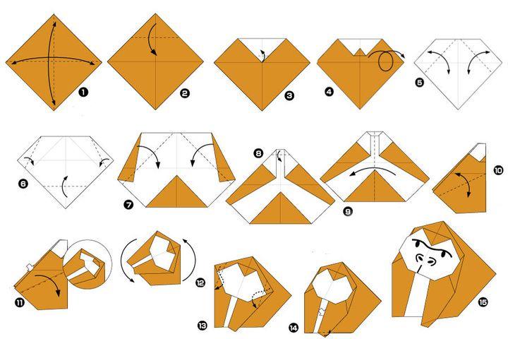 Поэтапная сборка гориллы в технике оригами