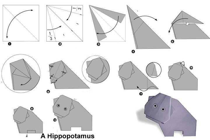 Поэтапная сборка бегемота в технике оригами