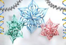 Поэтапная сборка объемной оригами-снежинки
