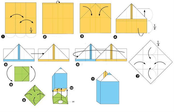 Пошаговая сборка оригами-карандашницы в виде карандаша