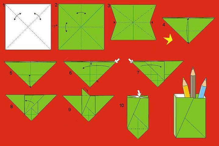 Пошаговая сборка оригами-карандашницы из одного листа