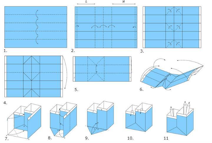 Пошаговая сборка двойной модели оригами-карандашницы