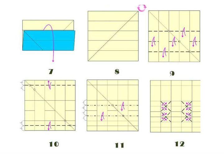 Пошаговая сборка оригами-карандашницы с рельефом