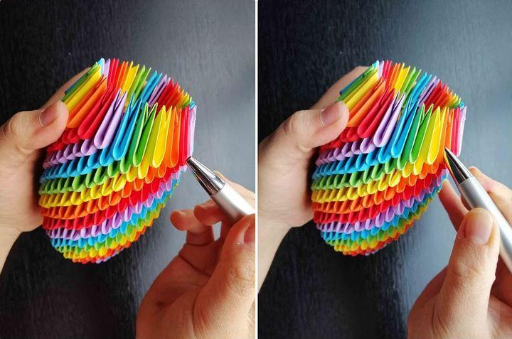 Пошаговая сборка оригами-карандашницы из модулей