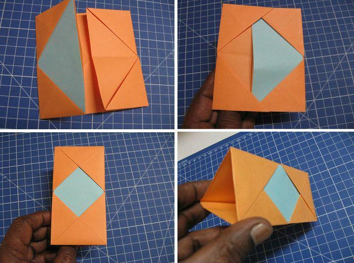 Пошаговая сборка оригами-карандашницы в виде органайзера