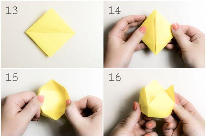 Пошаговая сборка оригами-короны в форме шкатулки