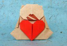Пошаговая инструкция по сборке оригами на 14 февраля в виде мишки