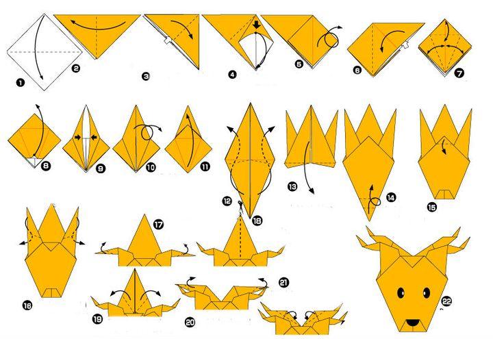 Пошаговая инструкция по сборке простой модели оленя в технике оригами