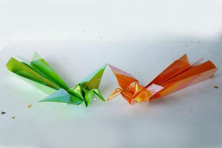 Пошаговая сборка  Жар-птицы в технике оригами