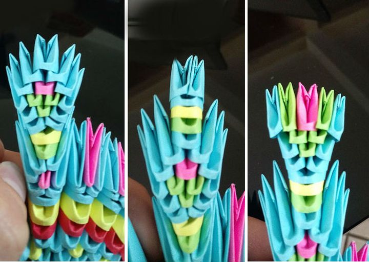 Пошаговая сборка 3-D варианта Жар-птицы в технике оригами