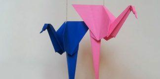 Поэтапная сборка оригами-фламинго - декоративный вариант