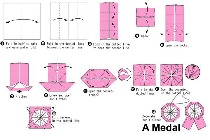 Поэтапная сборка оригами-медали на 23 февраля