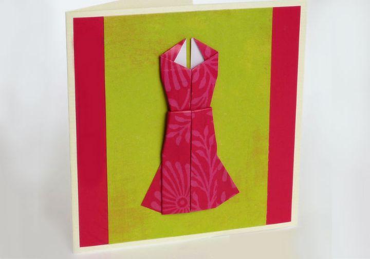 Поэтапная сборка оригами-платья на 8 марта