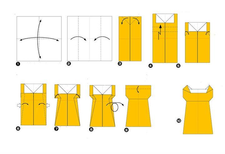 Поэтапная сборка оригами-платья бального на 8 марта