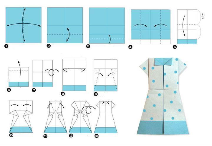 Поэтапная сборка оригами-платья в стиле ретро на 8 марта
