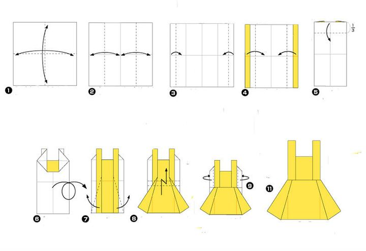 Поэтапная сборка оригами-сарафана на 8 марта